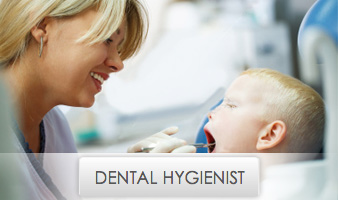 Young Blonde Female Dental Hygienist Cleaning Mouth of Child